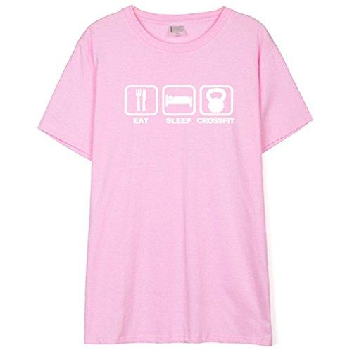 Honghu Uomo Eat Sleep Crossfit Grafico Cotone T-Shirt Maglietta Rosa&Bianca