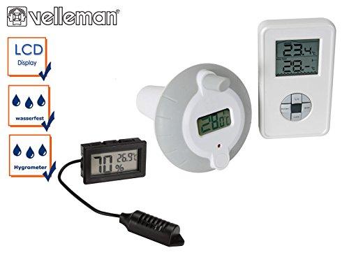 Set: Funk Wasserthermometer für Pool und Schwimmbad mit Einbau Hygrometer