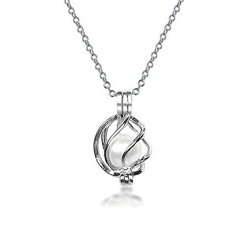 Bling Jewelry 925er Sterlingssilber Süßwasser-Zuchtperlen White Pearl Käfig Halskette 18 Zoll (White Pearl Halskette)