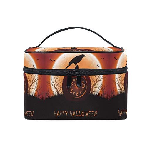 Tragbare hängende Make-up Kosmetiktasche Tasche,Travel Cosmetic Bag Halloween Moon Pumpkin Bird Toiletry Makeup Bag Pouch Tote Case Organizer Storage for Women Girls