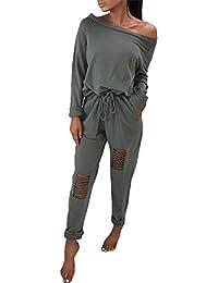 deed12b8cbda7f Boutiquefeel Damen Casual Schulterfrei Drawstring Top Ripped Hose Jumpsuits
