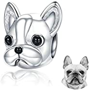FOREVER QUEEN Dog Charm 925 Sterling Silver, Cute Loyal Partners French Bulldog Doggy Animal Pet Bead Charms f