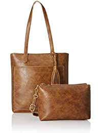Flavia Women's Handbag with Pouch (Tan) (Set of 2)