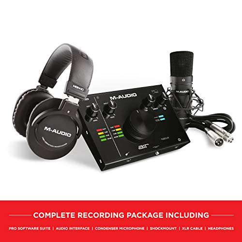 M-Audio - Komplettes Aufnahmepaket - USB Audio Interface, Mikrofon, Shock Mount, Kabel, Kopfhörer und Software Suite - AIR 192 | 4 Vocal Studio Pro
