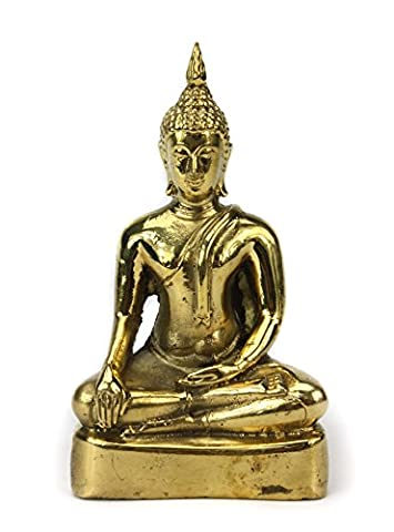 Thailändische Sitzender Buddha Statue Metall, Gold Finish, ca. 12,5cm hoch, cm6076