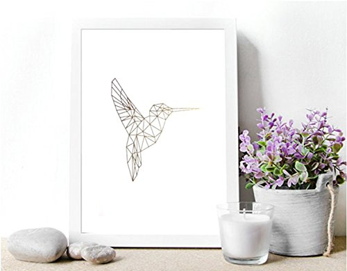 Poster Gold, Silber oder Kupfer Kolibri geometrisch (Kolibri Foto)