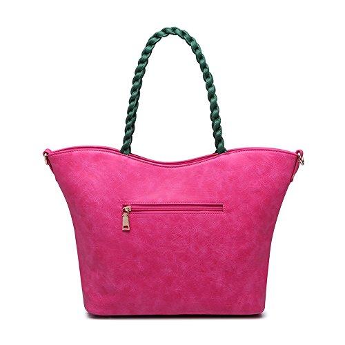 Realer Designer Véritable porte-monnaie en cuir et sacs à main pour femmes souple sac à bandoulière avec sangle de la chaîne Blanc Rose Rouge