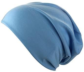 Bonnet long Jersey dans plusieurs couleurs| Bonnet pour Femme Hommes Enfants, bleu claire, One Size