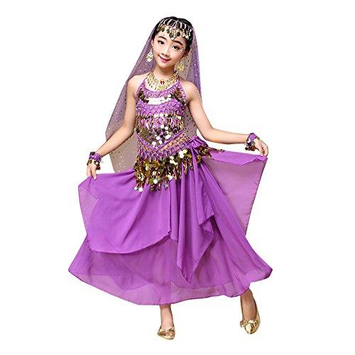 Lonshell Bauchtanz Tanzkleidung für Kinder Mädchen Chiffon Weste + Rock Anzug Performance Kleid Tanzkostüme Ägypten Tanz Belly Dance Kostüm Outfit (Spanischer Tanz Kostüm)