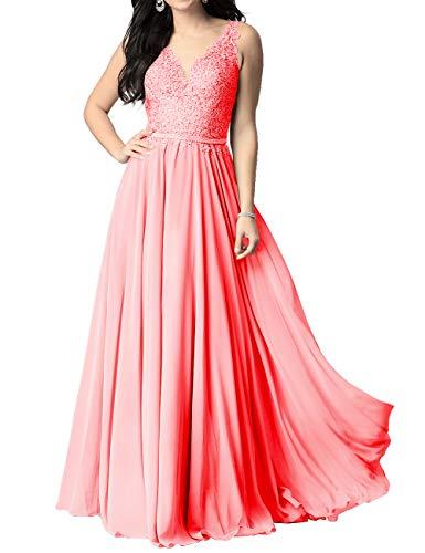 Abendkleider V-Ausschnitt Rückenfrei Bodenlang Brautjungfernkleider Partykleider A-Linie Chiffon Ballkleider Elegant Hochzeit Kleid Koralle 36 -
