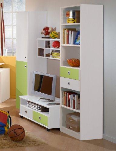 Wimex Wohnwand Sunny, (B/H/T) 198 x 58 x 184 cm, Weiß/ Absetzung Apfelgrün (Fach-tv-kommode 6)