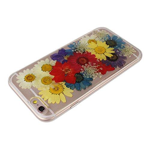 iPhone 6S Plus Noir Souple Coque avec Fleurs séchées, iPhone 6 Plus Arrière Etui, Moon mood® Ultra Mince Flexible TPU Silicone Etui Noir Coque avec Vraie Fleur pour Apple iPhone 6 Plus Téléphone Coqui Fleur-15