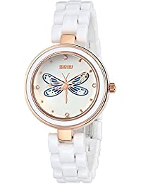 INWET White Ceramic Bracelet Wristwatch for Ladies,3D Dragonfly Design Dial,Elegant Crystal Watch
