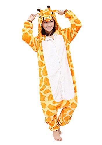 Yimidear® Unisex Cálido Pijamas para Adultos Cosplay Animales de Vestuario Ropa de dormir Halloween y Navidad(XL, jirafa)