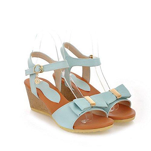 VogueZone009 Donna Punta Aperta Tacco Medio Finta Pelle Scamosciata Chiodato Heeled-Sandals Azzurro