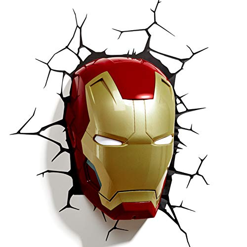 LED-Wandlampe, 3D-Wandleuchte, Nachtlicht, zum Versenden von Aufklebern, Iron Man Maske, Donner Hammer