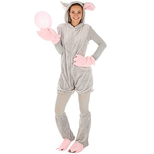 Maus für Sie und Ihn | Aus weichem Nickistoff | Kapuze mit großen Ohren | inkl. Handschuhe, Fußstulpen und einer Ganzkörperstrumpfhose (M | Nr. 300854) (Billig Heißen Halloween-kostüme)