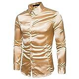 Herren Hemd Langarmshirt Vintage Glänzendes Mode Metallic Glänzend Glitzer Schlank Fit Shirt für Nightclub Party Tanzen Disco Halloween Cosplay Kostüm(Gold, EU-50 / CN-L)