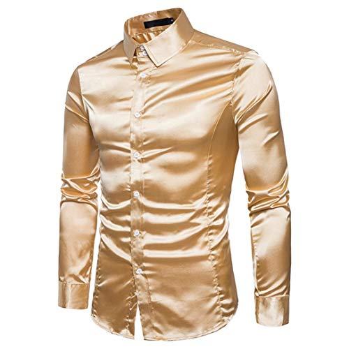 Tanzen Kostüm Männer - Herren Hemd Langarmshirt Vintage Glänzendes Mode Metallic Glänzend Glitzer Schlank Fit Shirt für Nightclub Party Tanzen Disco Halloween Cosplay Kostüm(Gold,EU-54 / CN-XXL)