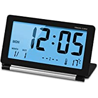 CEEBON Travel Clock Folding Mini Silent Digital Alarm Clock With Smart Night Light Temperature Calendar Big LCD Display and Repeating Snooze for Home Office Travel Use (Black)