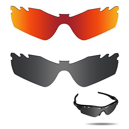 Fiskr Anti-Saltwater Polarisierte Ersatz Gläser für Oakley Radar Path Vented Sonnenbrille 2Paar Verpackt, Stealth Black & Fire Red