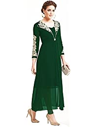 Kurti (Women's Georgette With Sentoon Inner Long Sleeve Green Color Anarkali Style Women Kurti)