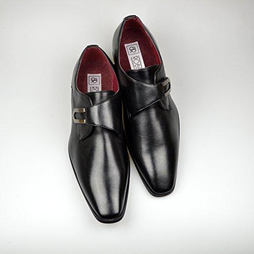 Chaussures à boucle pour homme en Cuir Noir Taille FR 39-46 Noir - noir