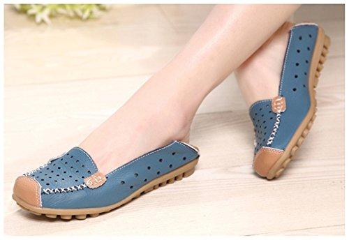 NEWZCERS Chaussures de conduite occasionnels cuir de vache couleur uni Hollow Out Carving flats mocassins glisser sur les chaussures de bateau pour les femmes Bleu