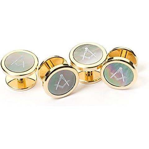 Masonic Onyx Camicia Studs, Cufflink Box
