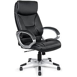 Silla de oficina giratoria escritorio altura ajustable cuero sintético sillón diseño silla con reposabrazos ajustable Recubrimiento Nuevo Bora Bora en negro de MY SIT