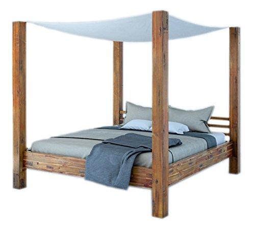 SAM Himmelbett Massivholz 180×200 cm Betthimmel weiß Stoff, Ella, Akazie, Unikat, Doppelbett