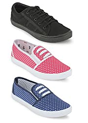 Scantia Women Combo Pack of 3 Casual Sneaker Shoes With Loafer & Maccosins Shoe