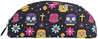 Bonipe coloré Motif tête de mort Croix Motif floral floral floral Trousse Stylo Sac étui support Porte-monnaie Maquillage pour Trave Bureau | Sale  80d241