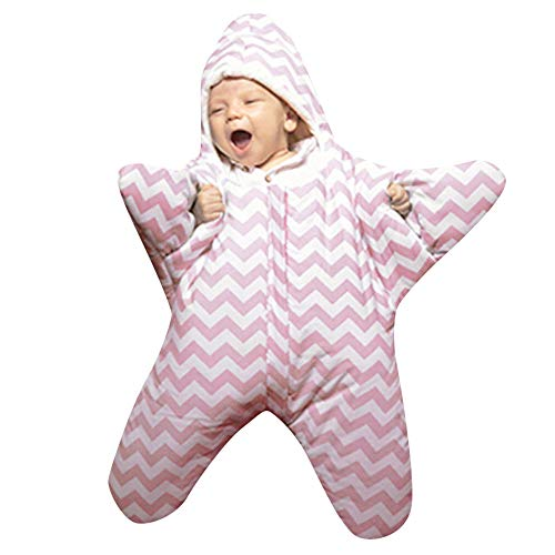 Hirolan Swaddle Neugeborenes Säugling Baby Mädchen Jungen Dreidimensional Karikatur Stern Seestern Striped Anti-Kick Sleeping Bag Herbst Winter Swaddle Muslin Decke Schlafsack (Rosa, 1 Stück)