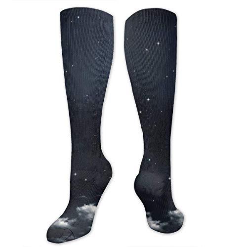 ouyjian Dark Sky Moon Polyester Baumwolle Über Knie Hohe Socken Lässige Unisex Oberschenkelstrümpfe Cosplay Boot Lange Schlauch Socken