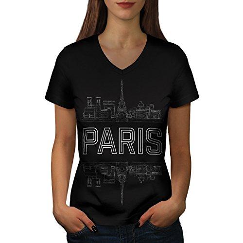 Paris Stadt Entwurf Frankreich Symbol Damen M V-Ausschnitt T-shirt | (Kostüm Männlich Frankreich)