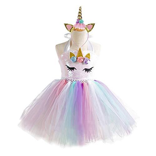 wondergirls Fashionable Unicorn Rainbow Tutu Dress for Little Girls with Unicorn Headband(None M 4-5Y)