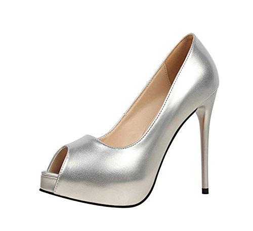 XINJING-S Peep Toe High Heels Schuhe Party Hochzeit Frauen Pumps Heels Business Kleidung Schuhe Silber