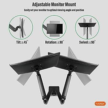 "PUTORSEN® PC Dual Monitor Arm-Heavy Duty Aluminum Ergonomic Gas-Assisted Full Motion Double Arm Desktop Clamp Mount for 17–35"" Screens Adjustable Tilt Swivel VESA 75 to 100mm Weight up to 15kg per Arm"