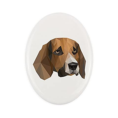 Beagle, oval gravestone from ceramic tile with an image of a dog, geometric