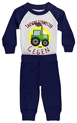 HARIZ Baby Pyjama Tausche Schwester Gegen Traktor Bagger Eisenbahn Inkl. Geschenk Karte Weiß/Navy Blau 36-48 Monate