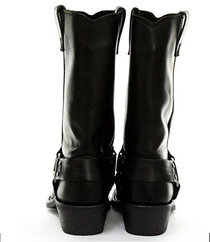 Grinders Herren Klassische Cowboy Stiefel aus echtem Leder Renegade Hi stilvolle Look Schwarz