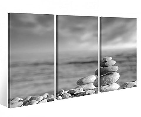 Leinwandbild 3 Tlg. Zen Wellness Feng Shui Wasser Steine Meer