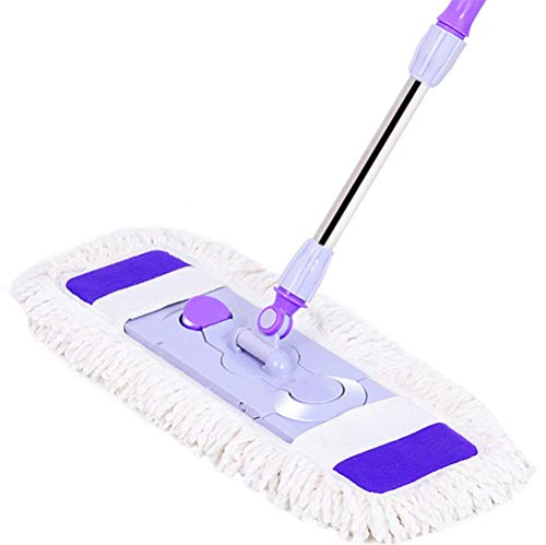 NAXIAOTIAO Große Staub-Push-Mopp Holzboden Wischmop Haushaltsmop Faul Flache Baumwoll-Mop Flat Push Edelstahl Mopp,Purple,65 * 28cm