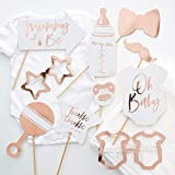 Ginger Ray Rose Gold Baby Shower Photo Booth Props - 10 Pack - Twinkle Twinkle