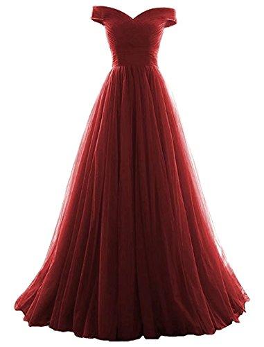 Vickyben Damen langes Ab-Schulter Tuell Prinzessin Kleid Abendkleid Ballkleid Brautjungfer kleid Party ()
