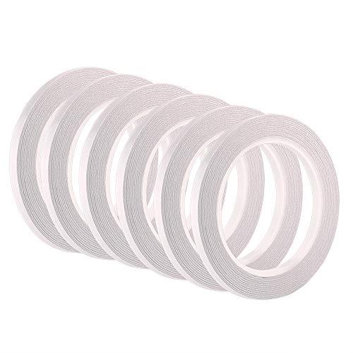 FEPITO 6 Rollos Cinta adhesiva de doble cara Cinta autoadhesiva para costura, manualidades, trabajo manual, 6 mm x 25 metros cada rollo