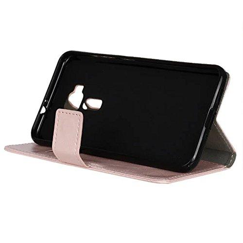 Verrückte Pferd Textur Solide Farbe Leder Schutzhülle Flip Stand Case Wallet mit Karte Cash Slots für Asus Zenfone 3 Deluxe ZS570KL 5.7 ( Color : White , Size : Zenfone 3 Deluxe ZS570KL 5.7 ) Pink