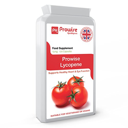 PROWISE LYCOPENE 15mg 120 capsules, UK Made GMP Guaranteed Quality, Suitable for vegetarians and vegans Test