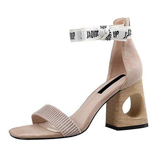 Eastlion Quadratischer Kopf Sommer Weibliche Sandalen Mode Hohl Schuh Ferse 7cm Hochhackige Sandalen Aprikose